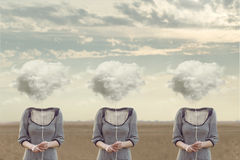 Three equal  persons  hiding his face with a cloud. Conceptual image Stock Images