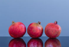 Three equally large in size pomegranate on a blue background Royalty Free Stock Image