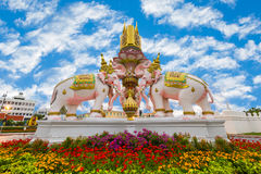 Three Erawan statues and symbols King, In front of Grand Palace, Emerald Buddha Temple, Wat Phra Kaew in Bangkok The statues of W royalty free stock photography