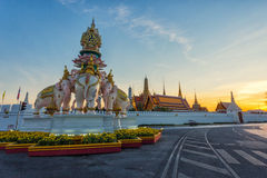 Three Erawan statues and symbols King, In front of Grand Palace Royalty Free Stock Photo