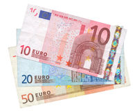 Three Euro banknotes Royalty Free Stock Photo