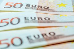 Three 50 Euro bills as a symbol of finance royalty free stock photo
