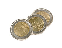 Three euro coins Stock Photography