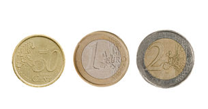 Three Euro coins isolated Stock Image