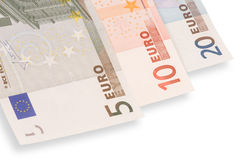 Three euro's banknotes (isolated). Close up of three euro's banknotes on white background with shadow Royalty Free Stock Images