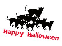 Three Evil Cat with Word Happy Halloween Stock Photo