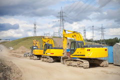 Three excavators Stock Photography