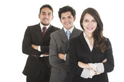 Three executives posing isolated on white Stock Photo