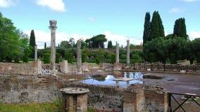 Villa Adriana in Tivoli Rome - Lazio Italy - The Three Exedras building ruins in Hardrians Villa archaeological site of. The Three Exedras building ruins of stock video footage