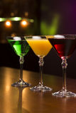 Three exotic cocktails stock photo