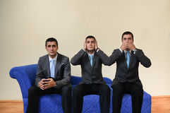 Three expressions. Example of dual personality at psychologist Stock Photos