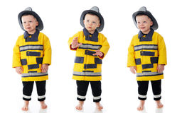 Three Expressive Little Firemen Royalty Free Stock Photos