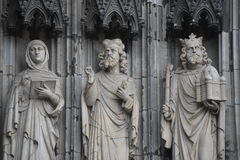 Three exterior statues, Cologne Cathedral, Germany Royalty Free Stock Image