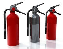 Three Extinguisher. Three 3D Fire Extinguishers placed red and chrome placed on a white reflective background Stock Image