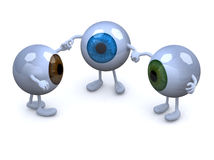 Three eyeball with arms and legs in different colors holding han. Ds, 3d illustration Stock Photography