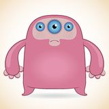 Three-eyed pink monster. Cartoon funny three-eyed pink monster Royalty Free Stock Images