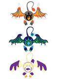 Three eyes of elements with wings stickers Royalty Free Stock Image
