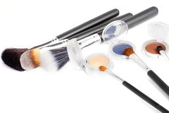 Three eyeshadow palettes with brushes Stock Photography