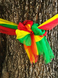 Three fabric color wrap the old tree, the belief in thailand Royalty Free Stock Image