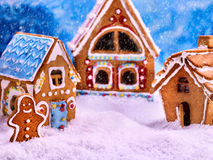Three fabulous gingerbread house for Christmas. Royalty Free Stock Images
