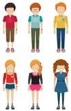 Three faceless boys and three faceless girls Royalty Free Stock Photo