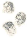 Three faces of 1 woman. Hand drawing classical picture with woman´s face Stock Photography