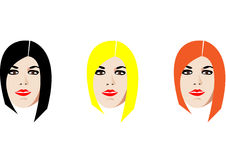 Three faces. Three isolated faces with black, blond and orange hair Royalty Free Stock Photo