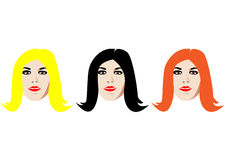 Three faces. Three isolated faces with black, blond and orange hair Stock Image