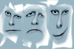 Three faces on grey. Three face abstract exprestions on blue grey background.  One bemused, one sad and one smiling.  For use in metaphorical or conceptual Stock Image