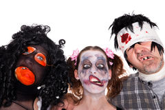 Three faces of scary halloween creatures Stock Photo