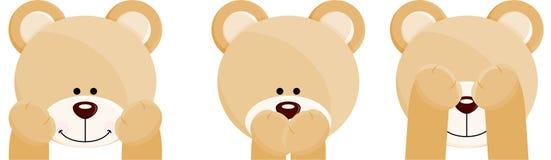 Three faces teddy bears Stock Photos