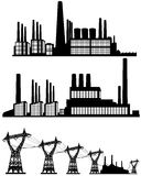 Three factories silhouettes Stock Images