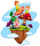 Three fairies and mushroom house. Illustration Stock Photo
