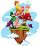 Three fairies and mushroom house. Illustration Stock Illustration
