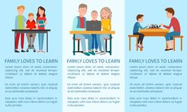 Three Family Loves To Learn And Sports Posters Royalty Free Stock Images