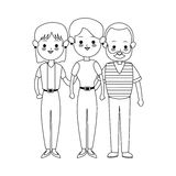 Three family members cute cartoon icon image Stock Images
