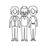 Three family members cute cartoon icon image Royalty Free Stock Photo