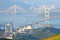 Three famous bridges in Hong Kong at day Stock Image