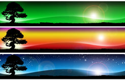 Three fantastic landscapes banners Royalty Free Stock Photos
