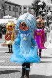 Three fantasy characters carnival costume masquerade Stock Photos