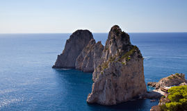 The Three Faraglioni Rocks Stock Photos