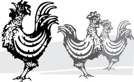 Three farm roosters Stock Photos