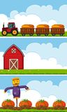 Three farm scenes with tractor and pumpkins stock illustration