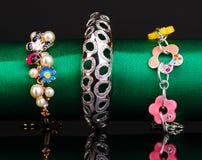 Three fashion bracelets Royalty Free Stock Photos