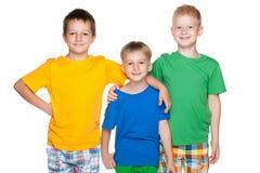 Three fashion cheerful little friends Royalty Free Stock Photo