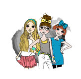 Three fashion girls Stock Photo