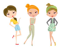 Three fashion girls Stock Images
