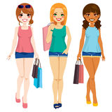 Three Fashion Girls Shopping Royalty Free Stock Photos