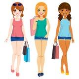 Three Fashion Girls Shopping Royalty Free Stock Photos