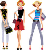 Three fashion girls stock illustration